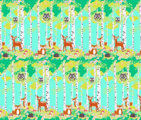 Birch forest with woodland friends aqua fabric by katarina on Spoonflower - custom fabric