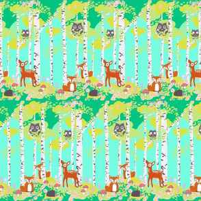 Birch forest with woodland friends aqua