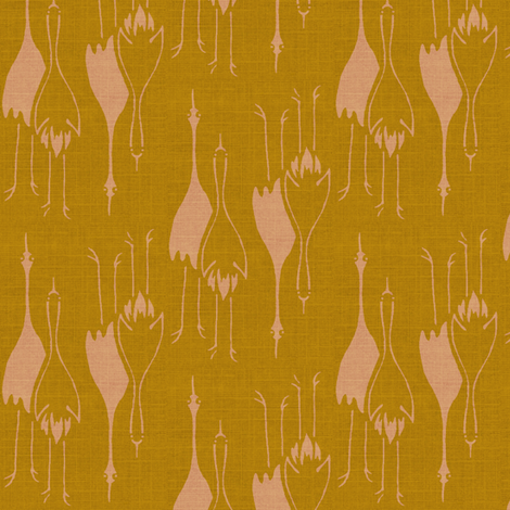 Crane Mates - ochre and pink fabric by materialsgirl on Spoonflower - custom fabric