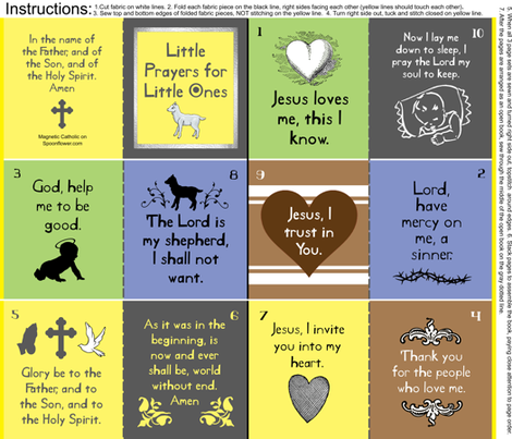 Little Prayers for Little Ones cloth quiet fabric book for church fabric by magneticcatholic on Spoonflower - custom fabric