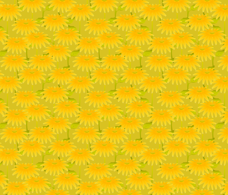 YELLOW FLOWER acid green fabric by glimmericks on Spoonflower - custom fabric