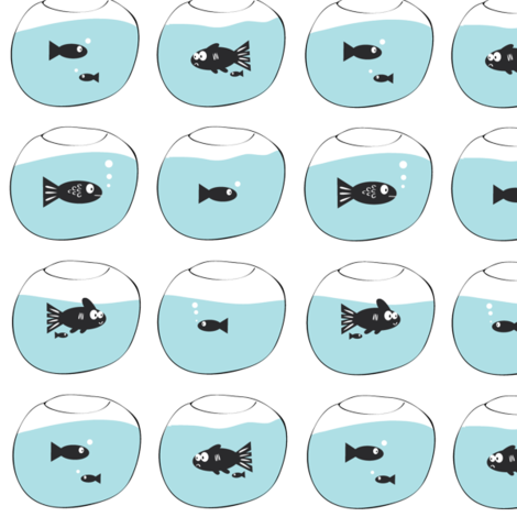 Hello again. Fish in fish bowls. fabric by halfpinthome on Spoonflower - custom fabric