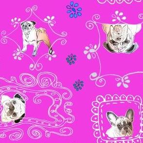 cute pug and bulldog fabric