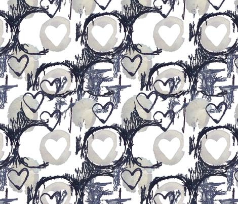 Mark making Hearts fabric by slumbermonkey on Spoonflower - custom fabric