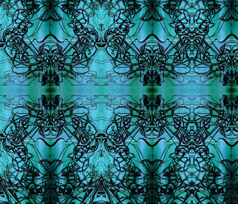 turquoise&black fabric by maryo on Spoonflower - custom fabric