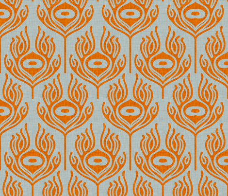 peacock_orange_grey fabric by holli_zollinger on Spoonflower - custom fabric
