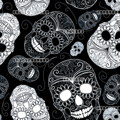 Black And White Sugar Skulls