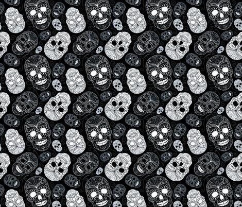 Black And White Sugar Skulls Wallpaper Peacefuldreams Spoonflower