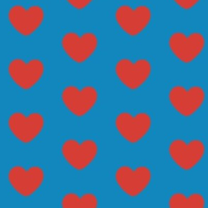 Blue with Red Hearts
