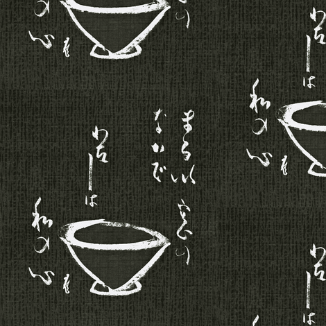 Tea Ceremony- black, charcoal & white-ch fabric by materialsgirl on Spoonflower - custom fabric