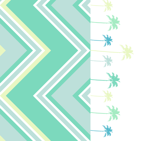Chevron Border With Palmtrees & Dots! - Lure - Venture - © PinkSodaPop 4ComputerHeaven.com fabric by pinksodapop on Spoonflower - custom fabric