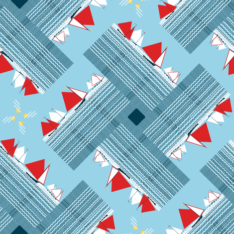 (NOW LARGER) Gaff-rigged skiffs, racing (limited palette) by Su_G fabric by su_g on Spoonflower - custom fabric