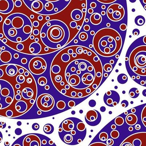 darkblue white red circles