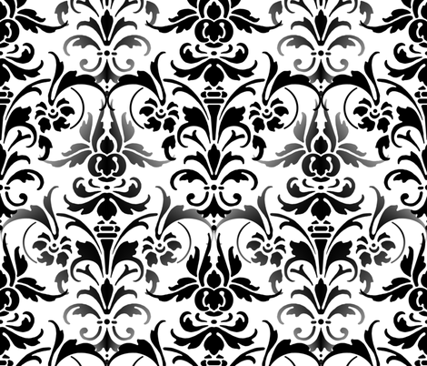 Mists On The Seine  Damask ~ Black  & White fabric by peacoquettedesigns on Spoonflower - custom fabric