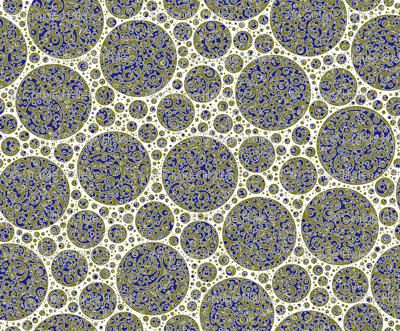 gold blue circles