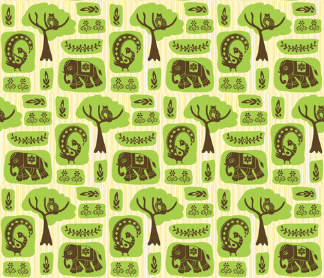 elephants, peacocks, owls fabric by creativerags on Spoonflower - custom fabric