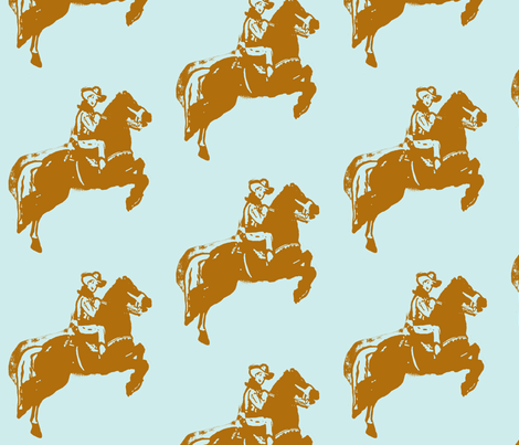Rootin Tootin Fun -blue brown fabric by bettieblue_designs on Spoonflower - custom fabric