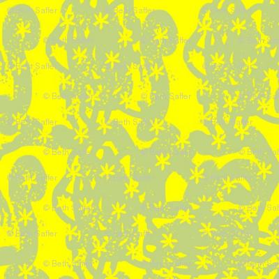 Gray Block Print Little Daisies-yellow