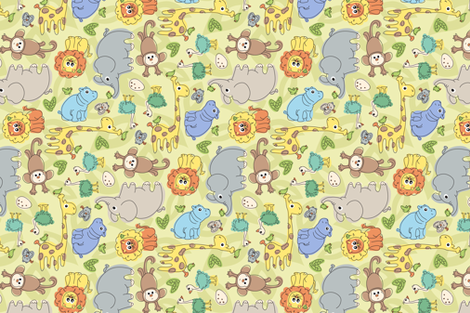 Baby Jungle Animals fabric by katrinazerilli on Spoonflower - custom fabric