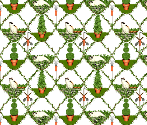 Cat Nip Cat Nap Garden ~ White fabric by peacoquettedesigns on Spoonflower - custom fabric