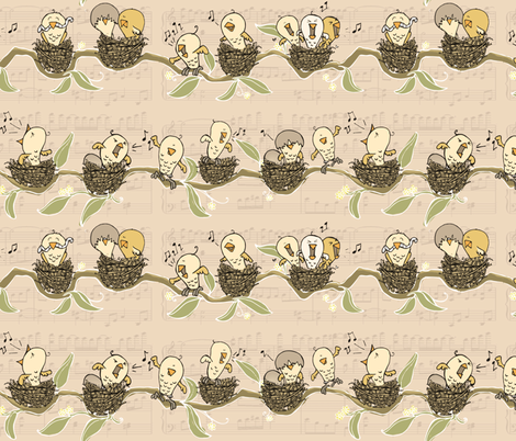 Hungry Hatchlings Melody - small scale fabric by mulberry_tree on Spoonflower - custom fabric