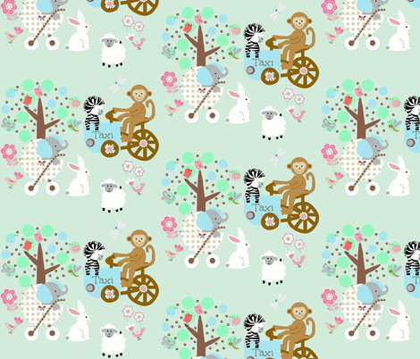 Busy Funday mint fabric by paragonstudios on Spoonflower - custom fabric