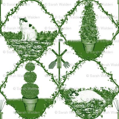 Cat Nip Cat Nap Garden ~ Green & White Toile