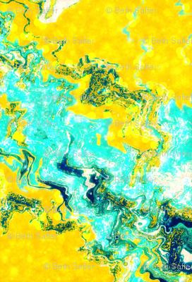 Golden Aqua Abstract