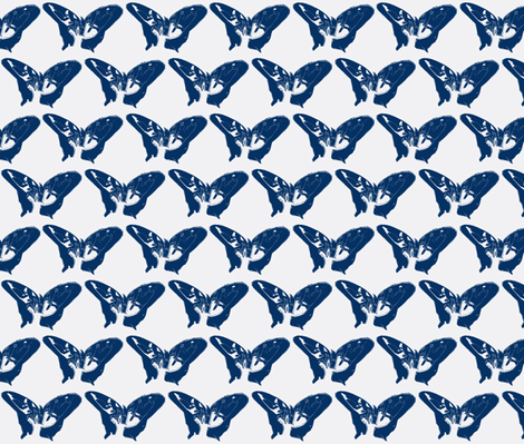 Butterfly, blue fabric by katiemadeit on Spoonflower - custom fabric