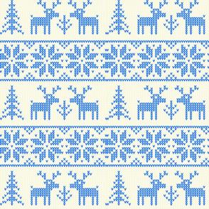 Fair Isle Blue & Brightest White Snowflakes-ch