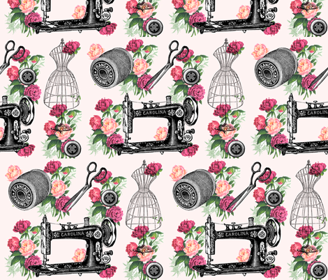 Vintage Sewing and Roses on PInk fabric by 13moons_design on Spoonflower - custom fabric