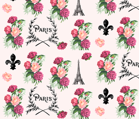 Paris Roses on Pink fabric by 13moons_design on Spoonflower - custom fabric