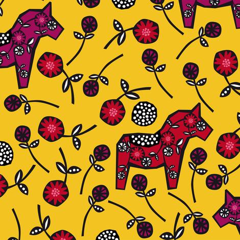 swedish horses fabric by elinvanegmond on Spoonflower - custom fabric