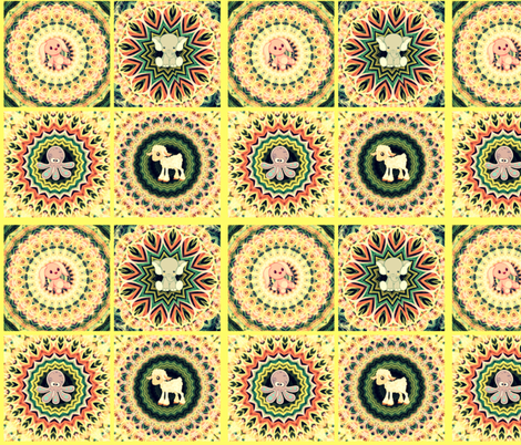 Kaleidoscope Baby Animal Quilt in Yellow fabric by charldia on Spoonflower - custom fabric