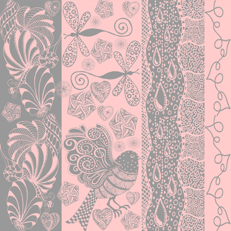 zentangle pink fabric by krs_expressions on Spoonflower - custom fabric