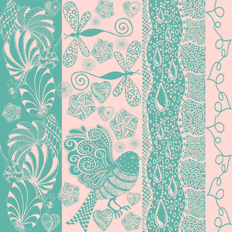 zentangle green fabric by krs_expressions on Spoonflower - custom fabric