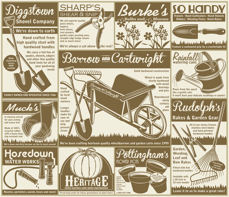 Gardening Tools Advertisements ~ Mushroom fabric by retrorudolphs on Spoonflower - custom fabric