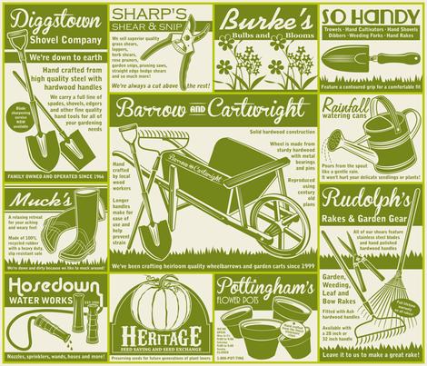 Gardening Tools Advertisements ~ Avocado fabric by retrorudolphs on Spoonflower - custom fabric