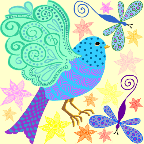 bird zentangle light fabric by krs_expressions on Spoonflower - custom fabric