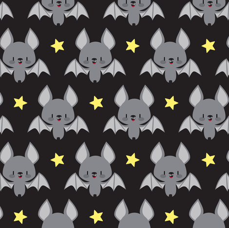 Cute baby bats fabric petitspixels spoonflower for Cute baby fabric prints