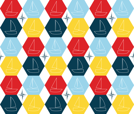 Sailboat-outlines fabric by hmooreart on Spoonflower - custom fabric