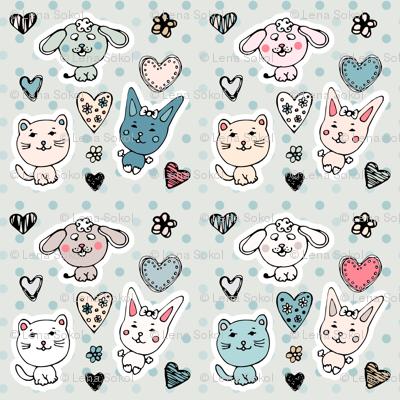 cute baby animals pattern