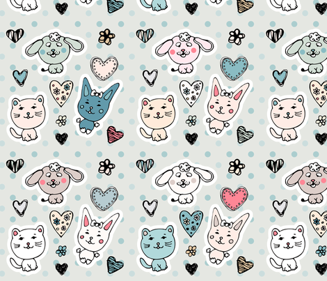 cute baby animals pattern fabric by lena_sokol on Spoonflower - custom fabric