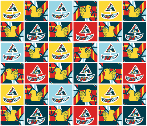 Ducks and Boats, Boats and Ducks fabric by anniedeb on Spoonflower - custom fabric