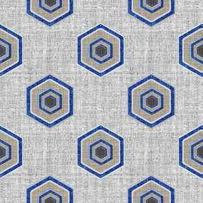 Geometric Linen Hexagon in blue and gray