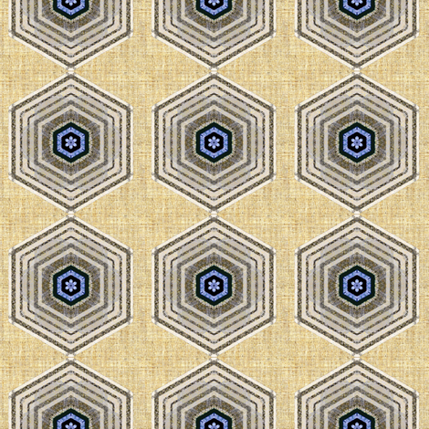 Hexagon linen fabric by joanmclemore on Spoonflower - custom fabric