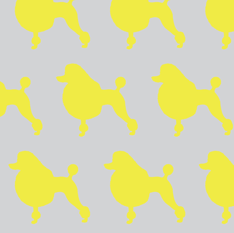 Poodle of mine in yellow fabric by mezzime on Spoonflower - custom fabric