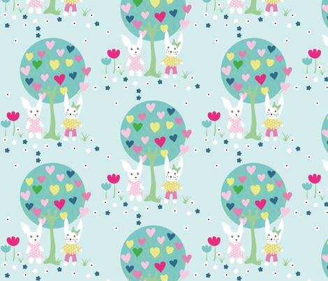 rabbit-tree fabric by snoffs on Spoonflower - custom fabric