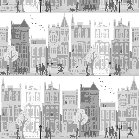 city life black and white fabric by krs_expressions on Spoonflower - custom fabric