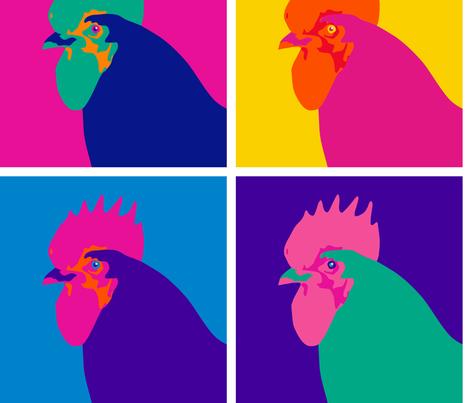 Chicken Pop Art - Warhol Style fabric by mariafaithgarcia on Spoonflower - custom fabric